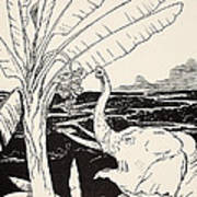 The Elephant's Child Going To Pull Bananas Off A Banana-tree Print by Joseph Rudyard Kipling