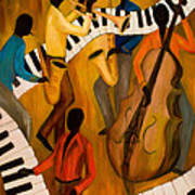 The Get-down Jazz Quintet Print by Larry Martin
