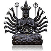 The Images Of Guanyin Black Print by Tosporn Preede