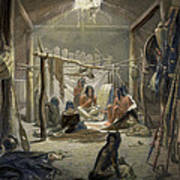 The Interior Of A Hut Of A Mandan Chief Print by Karl Bodmer