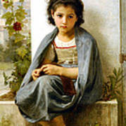 The Little Knitter Print by William Bouguereau