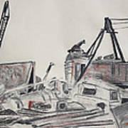 The Old Berkeley Marina Junk Heap On A Foggy Day Print by Asha Carolyn Young