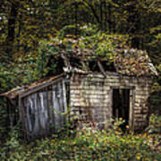 The Old Shack In The Woods - Autumn At Long Pond Ironworks State Park Print by Gary Heller