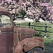 The Old Truck And The Crab Apple Print by Edward Fielding