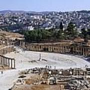 The Oval Plaza At Jerash In Jordan Print by Robert Preston