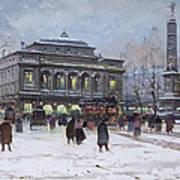 The Place Du Chatelet Paris Print by Eugene Galien-Laloue
