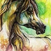 The Rainbow Colored Arabian Horse Print by Angel  Tarantella