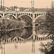 The Schuylkill River And Manayunk Bridge In Sepia Print by Bill Cannon