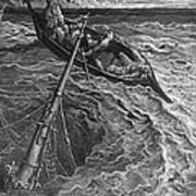 The Ship Sinks But The Mariner Is Rescued By The Pilot And Hermit Print by Gustave Dore
