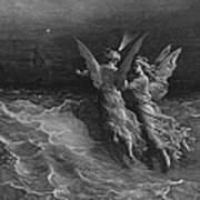 The Two Fellow Spirits Of The Spirit Of The South Pole Ask The Question Why The Ship Travels  Print by Gustave Dore