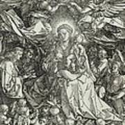 The Virgin And Child Surrounded By Angels Print by Albrecht Durer or Duerer