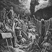 The Vision Of The Valley Of Dry Bones Print by Gustave Dore