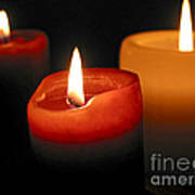 Three Burning Candles Print by Elena Elisseeva