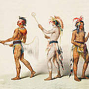 Three Indians Playing Lacrosse Print by Unknown