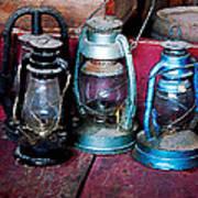 Three Kerosene Lamps Print by Susan Savad