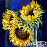 Three Sunny Flowers Print by Irina Sztukowski