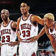 Threepeat - Chicago Bulls - Michael Jordan Scottie Pippen Dennis Rodman Print by Prashant Shah