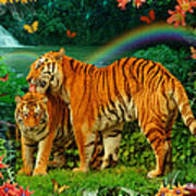 Tiger Love Tropical Print by Alixandra Mullins