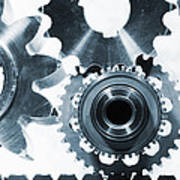 Titanium Aerospace Parts In Blue Print by Christian Lagereek