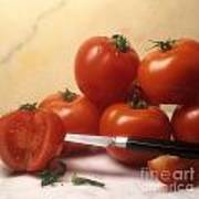 Tomatoes And A Knife Print by Bernard Jaubert