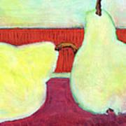 Touching Pears Art Painting Print by Blenda Studio