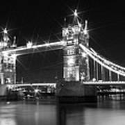 Tower Bridge By Night - Black And White Print by Melanie Viola
