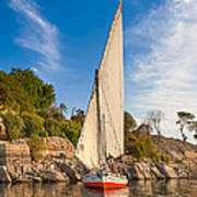 Traditional Egyptian Sailboat On The Nile Print by Mark E Tisdale