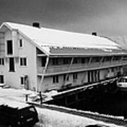 traditional wooden warehouse in Honningsvag harbour finnmark norway europe Print by Joe Fox