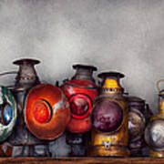 Train - A Collection Of Rail Road Lanterns  Print by Mike Savad