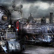 Train - Engine - 1218 - Waiting For Departure Print by Mike Savad