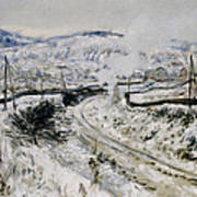 Train In The Snow At Argenteuil Print by Claude Monet