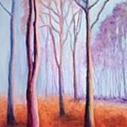 Trees In The Mist Print by Marion Derrett
