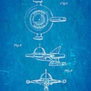 Tremulis Spaceship Hood Ornament Patent Art 1951 Blueprint Print by Ian Monk
