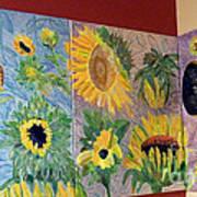 Tryptich Corner Sunflowers Print by Vicky Tarcau
