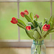 Tulips In Mason Jar Print by Kay Pickens