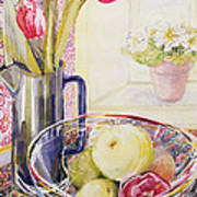Tulips With Fruit In A Glass Bowl  Print by Joan Thewsey