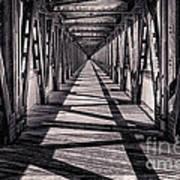 Tulsa Pedestrian Bridge In Black And White Print by Tamyra Ayles