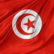 Tunisia Flag Print by Les Cunliffe