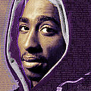 Tupac Shakur And Lyrics Print by Tony Rubino