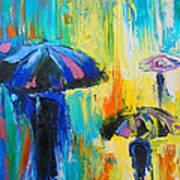 Turquoise Rain Print by Susi Franco