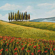 Tuscan Field With Poppies Print by Melinda Saminski