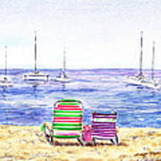 Two Chairs On The Beach Print by Irina Sztukowski