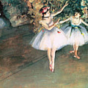 Two Dancers On A Stage Print by Edgar Degas