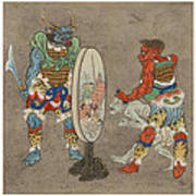Two Mythological Buddhist Or Hindu Figures Circa 1878 Print by Aged Pixel