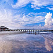 Tybee Island Pier On A Beautiful Afternoon Print by Mark E Tisdale