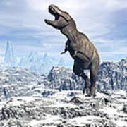 Tyrannosaurus Rex Dinosaur In A Snowy Print by Elena Duvernay