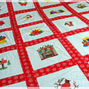 Unique Quilt With Christmas Season Images Print by Barbara Griffin