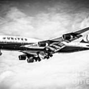 United Airlines Boeing 747 Airplane Black And White Print by Paul Velgos