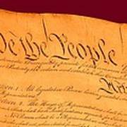 Us Constitution Closeup Violet Red Bacjground Print by L Brown