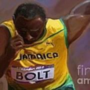 Usain Bolt 2012 Olympics Print by Vannetta Ferguson